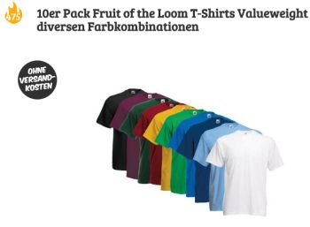 Fruit of the Loom: Zehnerpack T-Shirts für 19,95 Euro frei Haus