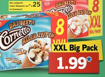 Cornetto-Achterpack bei Lidl