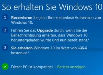 Windows 10 Upgrade gratis reservieren
