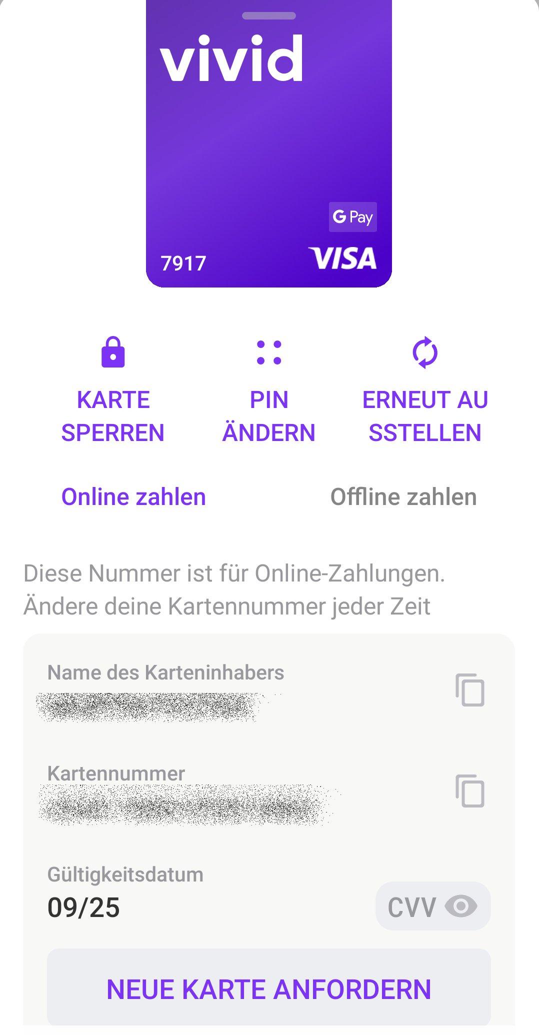 Kreditkarte verwalten