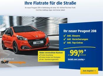 1&1: Peugeot 208 für 99 Euro inkl. Steuern und Versicherung zum Handyvertrag