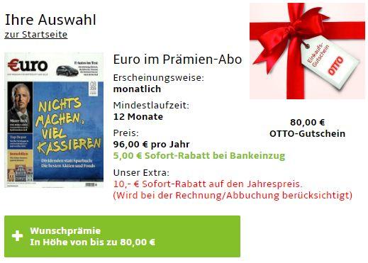 Euro: Jahresabo für 81 Euro mit Gutschein über 80 Euro