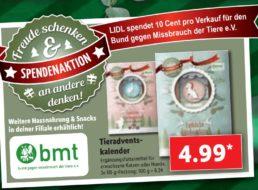 Lidl: Tier-Adventskalender mit zehn Cent Direktspende für 4,99 Euro
