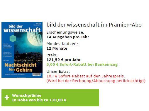 """""""Bild der Wissenschaft"""": Jahresabo für 106,52 Euro mit Prämie über 110 Euro"""