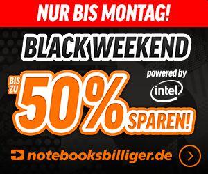 """Notebooksbilliger: """"Black Weekend"""" mit bis zu 50 Prozent Rabatt bis Montag"""