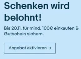 Ebay: Gutschein über zehn Euro bei Einkäufen ab 100 Euro