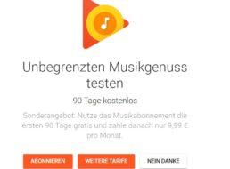 "Gratis: Drei Monate ""Google Play Music"" zum Nulltarif"