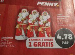Penny: Drei Lindt-Weihnachtsmänner zum Preis von zweien