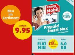 Penny Mobil: Prepaid Smart Max im Wert von 20 Euro für 9,95 Euro