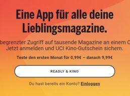 Gratis: Kino-Gutschein über 10 Euro zur Readly-Flat für 99 Cent