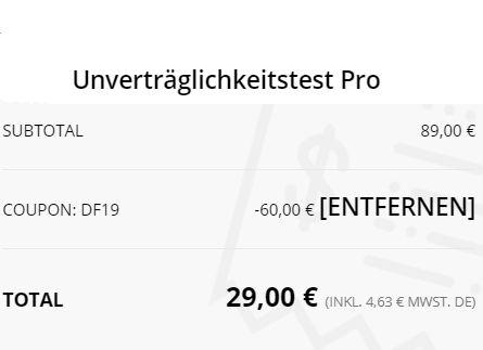 Exklusiv: Unverträglichkeitstest auf Nahrungsmittel für 29 statt 89 Euro