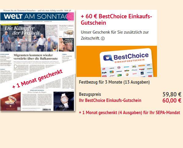 Welt am Sonntag: Vier Monate für 59,80 Euro mit Bestchoice-Gutschein über 60 Euro