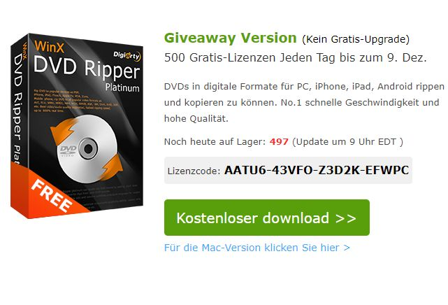 """Gratis: """"WinX DVD Ripper Platinum Giveaway"""" für kurze Zeit zum Nulltarif"""