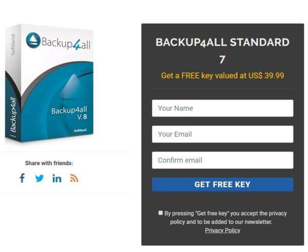 """Gratis: """"Backup4All"""" Standard im Wert von 48 Dollar zum Nulltarif"""