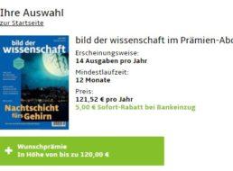 """""""Bild der Wissenschaft"""": Jahresabo für 116,52 Euro mit Gutschein über 120 Euro"""