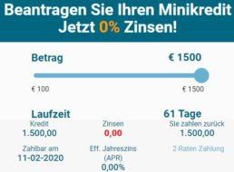 Knaller: Minikredit über 1500 Euro mit 0 Prozent Zinsen