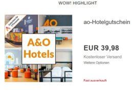 Ebay: Hotelgutscheine für a&o zu Preisen ab 39,98 Euro