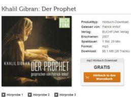 """Gratis: Hörbuch """"Der Prophet"""" bei Vorleser.net zum kostenlosen Download"""