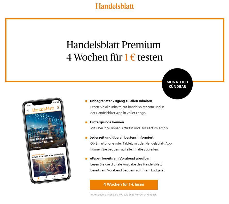 Handelsblatt Premium: Vier Wochen kompletter Zugriff für 1 statt 34,99 Euro
