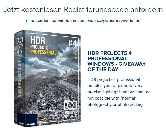 "Gratis: ""HDR Projects 4 Professional"" für 0 statt 143 Euro"