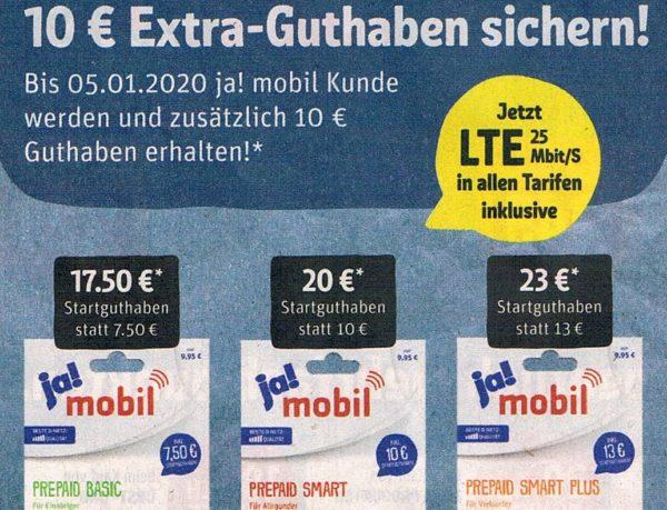 Ja Mobil: 10 Euro Extra-Guthaben bis zum 5. Januar
