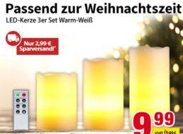 Völkner: Dreierset LED-Kerzen mit Fernbedienung für 12,98 Euro frei Haus