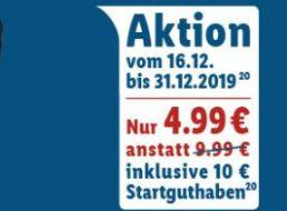 Lidl Connect: Prepaid-Karte mit 10 Euro Guthaben für 4,99 Euro frei Haus