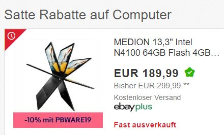 Ebay: Medion E3222 Notebook als B-Ware für 170,99 Euro dank Gutschein
