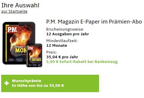 PM: Digitalabo für 30 Euro mit Gutschein über 35 Euro