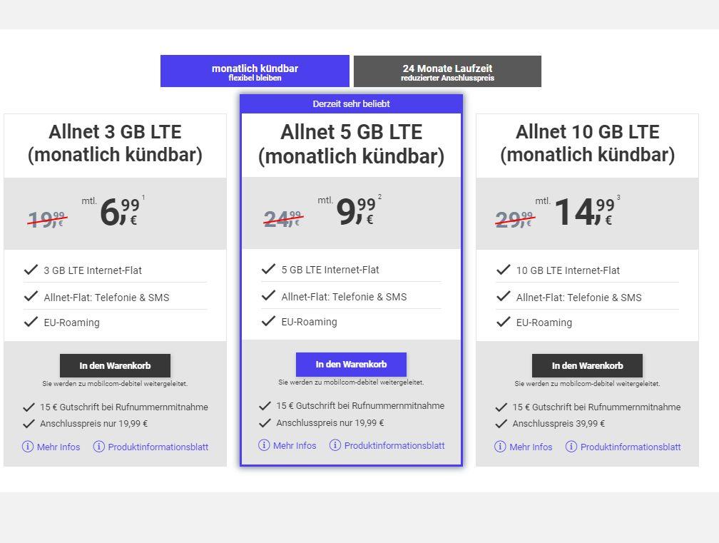 Megasim: Monatlich kündbare LTE-Allnet-Flats ab 6,99 Euro