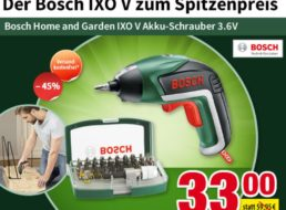 Voelkner: Akkuschrauber Bosch IXO V mit Bitsatz für 33 Euro frei Haus
