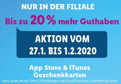 Lidl: 10-20 Prozent mehr Guthaben auf iTunes-Karten