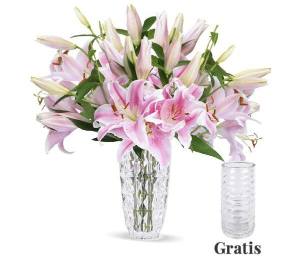 Blumeideal: 15 Lilien inklusive Glasvase für 22,98 Euro frei Haus