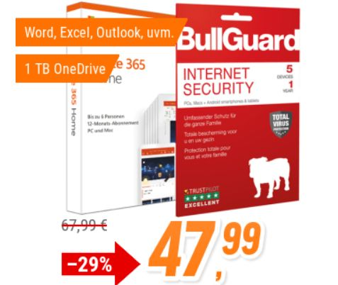 Office 365: Jahreslizenz inklusive Bullguard Internet Security für 47,99 Euro