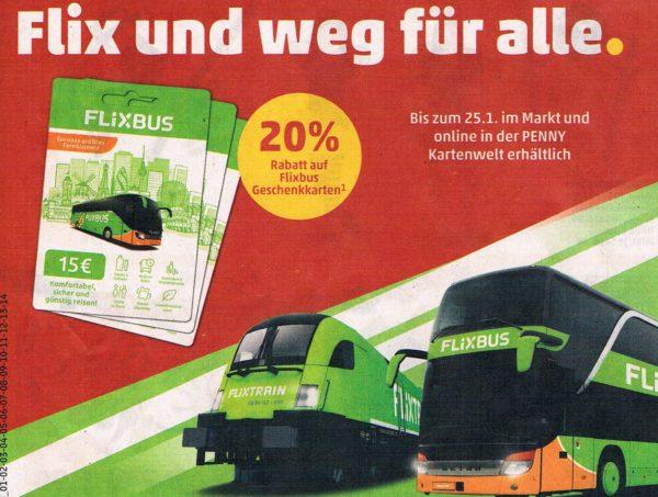 Penny: 20 Prozent Rabatt auf Guthabenkarten von Flixbus und Flixtrain