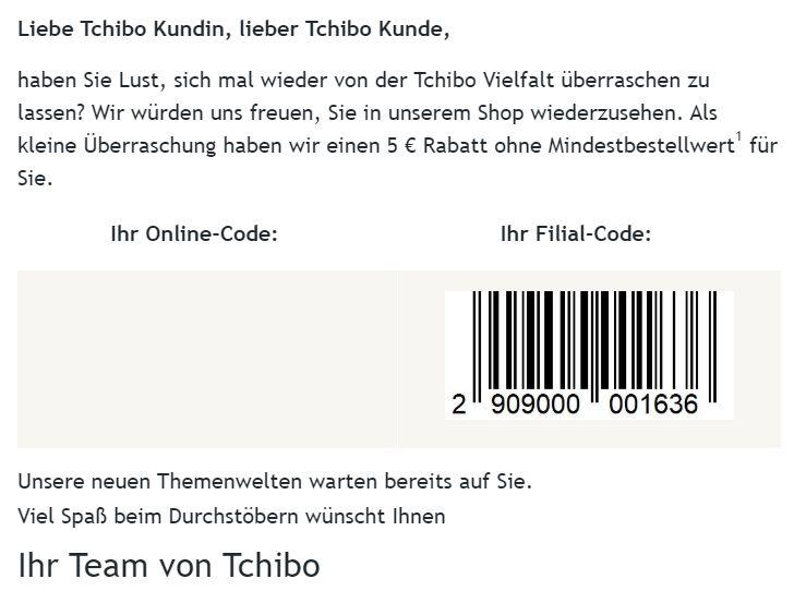 Tchibo: Filial-Gutschein über 5 Euro ohne Mindestbestellwert