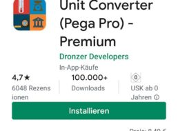 """Gratis: App """"Unit Converter (Pega Pro) – Premium"""" für 0 statt 8,49 Euro"""