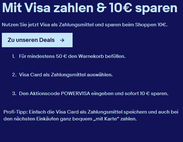 Ebay: 10 Euro Rabatt bei Zahlung mit Visacard