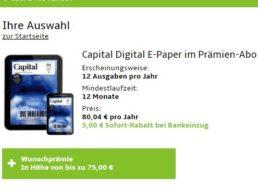 """Wieder da: """"Capital""""-Jahresabo als ePaper für 75,04 Euro mit Prämie über 75 Euro"""