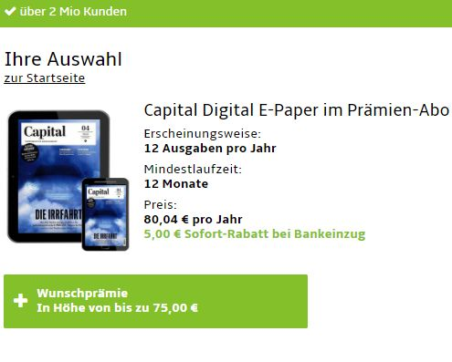 Capital: Digitales Jahresabo für 75,04 Euro mit Prämien über 75 Euro