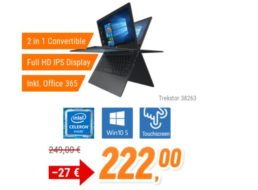 Trekstor: Primebook Convertible C11B-CO 2in1 mit Office 365 für 222 Euro