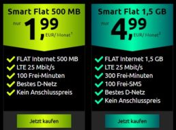 Knaller: D-Netz Datenflat mit 500 MB plus 100 Freiminuten für 1,99 Euro