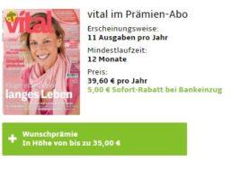 Vital: Jahresabo für 34,60 Euro mit Gutschein über 35 Euro