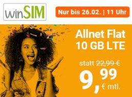 Winsim: 10 GByte LTE mit 50 MBit/s für 9,99 Euro, monatlich kündbar