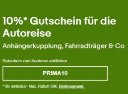 Ebay: Zehn Prozent Rabatt auf Fahrradträger und Fahrzeugteile