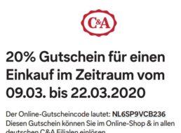 C&A: 20 Prozent Rabatt ab 49 Euro Warenwert bis zum 22. März