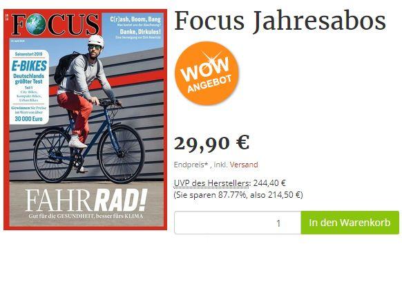 Exklusiv: Focus-Jahresabo zum Direktpreis von 29,90 Euro frei Haus