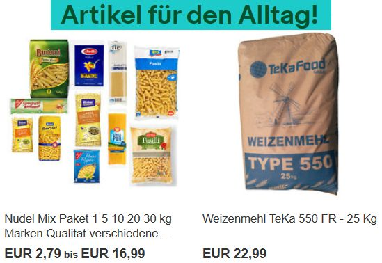 Ebay: Lebensmittel-Großpackungen zu Aktionspreisen