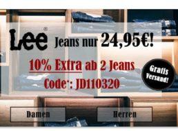 Jeans Direct: Lee-Jeans für 24,95 Euro frei Haus, Extra-Rabatt möglich