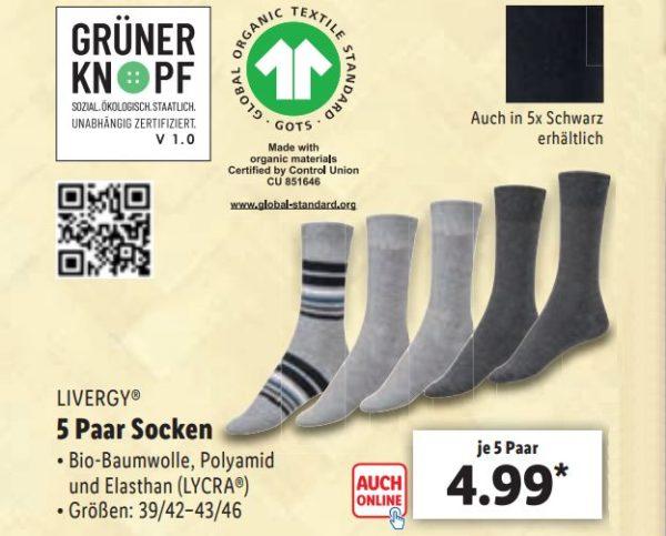 """Lidl: Fünferpack Socken mit Sozial-Siegel """"Grüner Knopf"""" für 4,99 Euro"""
